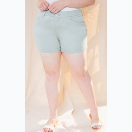 Plus Size 2-Button Hide Your Muffin Top High-Rise Cuffed Short In Aloe Green
