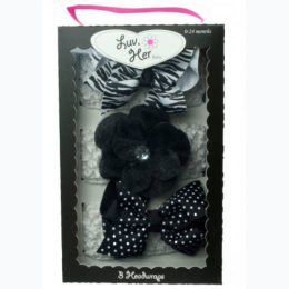 Baby Girl 3 Piece Headwrap Set in Black
