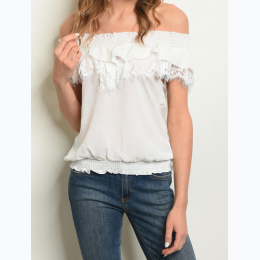 Junior's Off The Shoulder Lace Trim Blouse In White