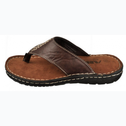 Boy's Faux Leather Thong Sandal In Brown Sizes 4 - 8