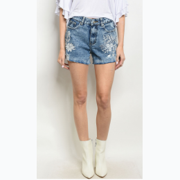 Junior's Mid Rise Floral Embroidery Detail Denim Shorts