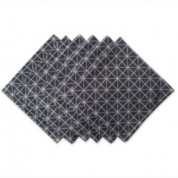 Black & White Triangle Napkin Set/6