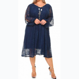 Plus Size Lace Tunic Dress In Navy