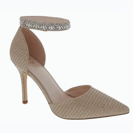 Women's Rhinestone Embellished Ankle Strap Metallic Thread Heels in Nude Tone
