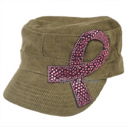 Women's Herringbone Cadet Cap With Breast Cancer Awarness Ribbon