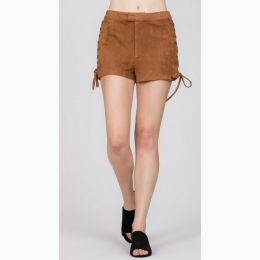Faux Suede Shorts with Lace Up Sides