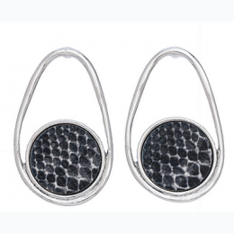 SNAKESKIN PRINT EARRINGS - Silver with Black and White