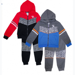 Toddler Boys Abstract Print Zip Front Hoodie Jogset