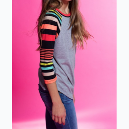 Girl's Multi-Striped Sleeve Raglan Top