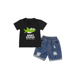 "2pc Baby Shark ""Doo ... "" Tee With Ripped Denim Shorts"