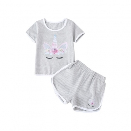 Girl's Unicorn Striped Top And Shorts Set