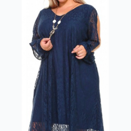 Extended Plus Lace Tunic Dress With Necklace