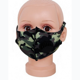 Kids Camouflage Print Elastic Ear Loop Face Mask with Valve