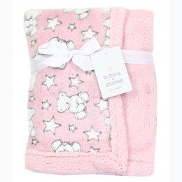 Soft Stars and Teddy Bears Printed Sherpa Baby Blanket