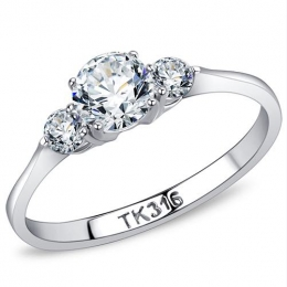 Past, Present and Future Stainless Steel Ring with AAA Grade Clear CZ s