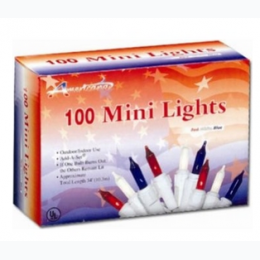 100 Mini Lights String Set In Red, White, And Blue
