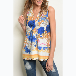 Junior's Sleeveless V-Neck Floral Print Top - Size Small