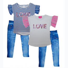 Girl's Jersey Top With Love Applique And Capri Jegging