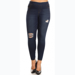 Plus Size Distressed Denim Leggings