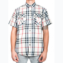Men's Plaid Print Short Sleeve Button Down Shirt