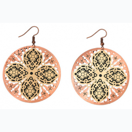 Large Tonal Filigree Earrings -   Rose with Gold Flower Shaped Center