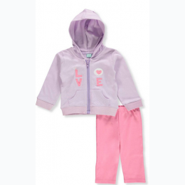 Baby Girls' 2-Piece Love Hoddie and Pants Set in Pink and Purple