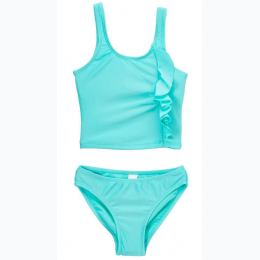 Girl's Ruffles Tankini 2 Piece Set In Aqua - SIZE 4