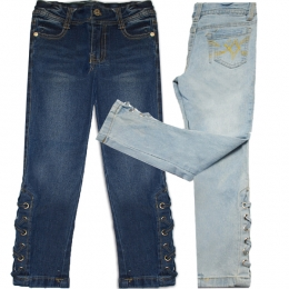 Girls' Lace Up Hem Denim Jeans