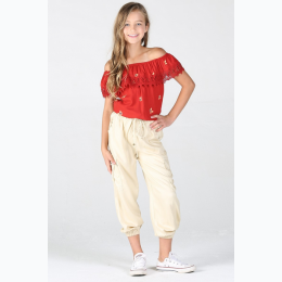 Girl's Lightweight Cargo Jogger Pant in Stone