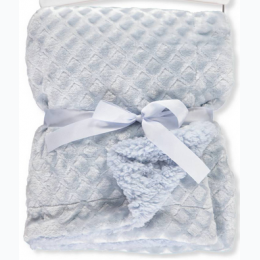 Diamond Plush Baby Blanket - Blue