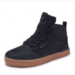 Boy's Denim Upper High Top Sneaker in Black