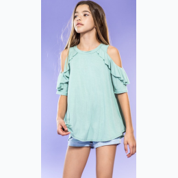 Girl's Cold Shoulder Top In Mint - Size XS