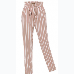 Women's Stretchy High Waisted Slim Straight Leg Striped Pants In Mauve