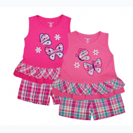 Infant Girl's Butterfly Top and Plaid Shorts In Pink - Shades of Pink Will Vary