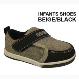 Baby/Toddler Velcro Enclosure Shoe In Beige and Black sizes 4 - 9
