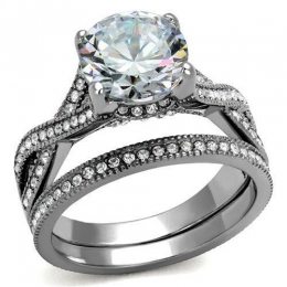 Womens  2pc Stainless Steel Ring with Solitaire  AAA Grade CZ Clear