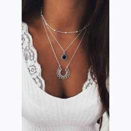 Silver Layered Lotus Pendant and Beaded Necklace