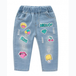 Girl's Hello Kiss Distressed Jeans