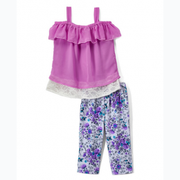 Girls' 2pc Ruffled Top Floral Legging Set