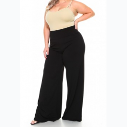 Extended Plus Palazzo Pants In Black